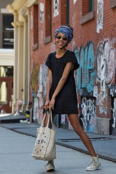 Boho Street Style Inspiration: All-Black + Printed Head Scarf Summer Look #johnnywas