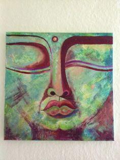 Acrylbild - moderne Kunst - auf Leinwand. Sehr ausdruckstark. Grüntöne, Dunkelrot, Goldmetallic-Effekte
