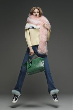 Pre-Fall 2015 - Fendi. Sneakers. Jeans. Pink fake fur. And a green purse. Is this guy in my head or what?