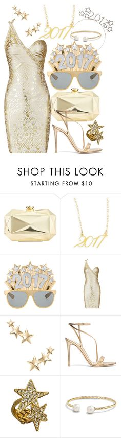 """""""Happy New Year"""" by faleur102 ❤ liked on Polyvore featuring INC International Concepts, Brevity., Kenneth Jay Lane, Gianvito Rossi, Blu Bijoux, David Yurman, NewYears, happy, newyear and 2017"""