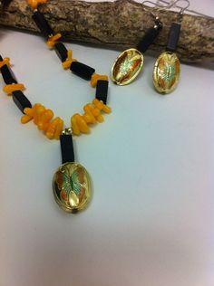 Natural Yellow Coral Gemstone Nugget and black by LoreNovedades