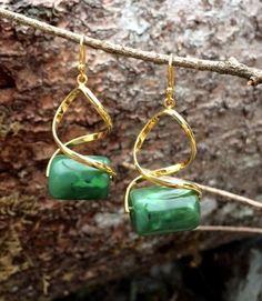 Washington Jade Bead Earrings by SmithNJewels on Etsy