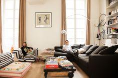 The Socialite Family | Chez Elsa Lepeu et Junion, Paris, 1er arrondissement. #jeanpaulgaultier #sofa #rochebobois #paris #livingroom #thesocialitefamily