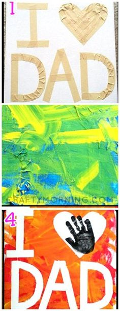 "Tape Resist ""I Love Dad"" Canvas - great craft/gift idea for kids to make for Fathers Day! dad day ideas, mothers day projects for kids, mothers day diy for kids Resist ""I Love Dad"" Canvas - great craft/gift idea for kids to make for Fathers Day! Daycare Crafts, Baby Crafts, Toddler Crafts, Crafts To Do, Preschool Crafts, Crafts For Kids, Toddler Preschool, Diy Father's Day Gifts, Father's Day Diy"