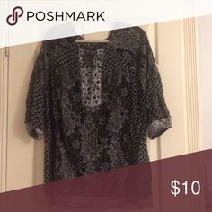 Women's Blouse Black with dark grey, army green and dark gold paisley print throughout. Tie at top and also black and bronze gems. 3/4 sleeves with elastic Style & Co Tops Blouses