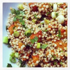 sorghum salad w/ curry-roasted winter squash & crispy chickpeas