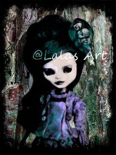 Uniue Pretty doll painting Big eyes Creepy art by LalasArtWorld