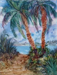 Tropical painting on yupo paper Beach Watercolor, Watercolor Flowers, Painting & Drawing, Watercolor Paintings, Watercolors, Tropical Art, Drawing People, Beautiful Paintings, Landscape Art