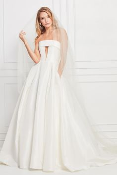 f8c6835995 What does every effortlessly cool bride want  A strapless gown of silky  ivory taffeta with
