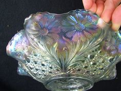 Cosmos and Cane Large Ruffled Bowl! White! US Glass! Carnival Glass! 2007mathia ebay name, some of the best carnival vendors on Ebay