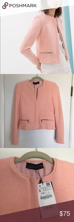 NWT Zara Pink Boucle Blazer with Zips (S) New with tags, never worn.  Size S.  Zipper and frayed hem details (fraying is part of designed look).  Reasonable offers accepted. Zara Jackets & Coats Blazers