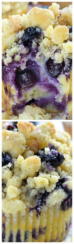 Lemon Blueberry Muffins with Streusel Crumb Topping ~ This EASY RECIPE with Greek yogurt makes the best, moist, homemade, bakery style muffins.