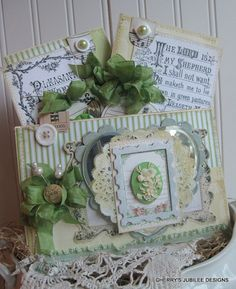 SHABBY chic the LORD is my SHEPARD stitched pocket with set of two cards and mini butterfly tag