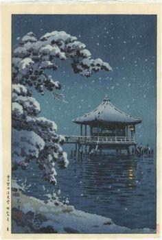 KOITSU-Japanese-Woodblock-Print-Snow-at-the-Ukimido-Katada-1934