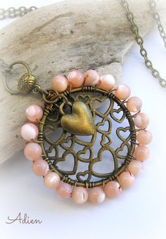 Peach Mother of Pearl  Hearts Necklace £9.95