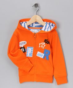 Take a look at this Orange Zip-Up Hoodie - Toddler & Boys by Blow-Out on #zulily today! #fall