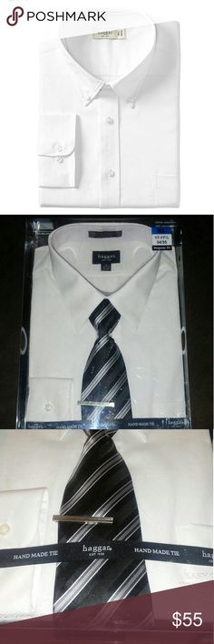 New Haggar The Dress Shirt & Hand Made Tie Collection.  Includes: Dress Shirt, Woven Tie, & Tie Bar.  XL 17-17.5 34/35 Regular Fit  55% Cotton 45% Polyester Single Needle Tailoring  Reminder: App Charges 20% Fee On Item's Over $15 And $3 On Items $15 & Under. Haggar Shirts Dress Shirts