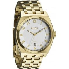 Nixon The Monopoly watch. 3 hand Japanese quartz movement with date function. wide, stainless steel case with hardened mineral crystal. Gold And Silver Watch, Valentino, Latest Clothes For Men, Watch Sale, Link Bracelets, Jewelry Accessories, Monopoly, Jewels, Champagne