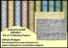 Eyelets Over Grungy Set of 12 Backing Papers on Craftsuprint designed by Sheila Rodgers - 12 x A4 backing papers which have grungy designs overlaid with silver eyelets. Perfect for men's cards. - Now available for download!