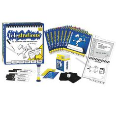 Experience the Telestrations Effect at your next party! DRAW what you see, then GUESS what you saw. All players simultaneously sketch, pass & guess to reveal hilarious and unpredictable outcomes! Check out a fun demo at www.TelestrationsEffect.com Easy to learn. Simple to play. Multi-generational & social. Even more fun if you can't draw! The perfect ice breaker or game night warm up.