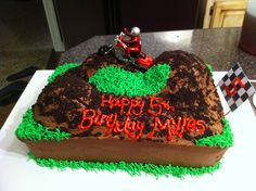 Cake for a 5 year old's birthday Fifth Birthday Cake, Birthday Cakes, Birthday Ideas, Birthday Parties, Cake Frosting Tips, Dirt Bike Cakes, Monkey Cakes, Cupcake Cakes, Cupcakes