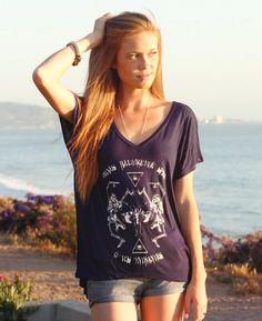 Dancing Skeleton Floral Satanic Locust Skull Shirt Third Eye Illuminati Triangle Tee // Women's Geometric Tee Shirt // Boho Clothing