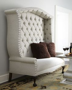 "Use between a pair of book shelfs    Haute House ""Bridgeport"" Settee - Neiman Marcus"
