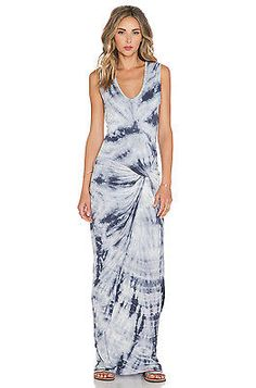 NEW Young Fabulous & Broke YFB Gray Dreamer Fleur V-Neck Stretch Maxi Dress L