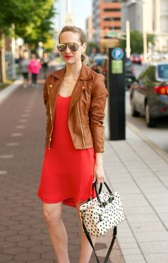 cdcfdd43ea10a Tan Leather Jackets, Ray Ban Rb3025, Gold Sunglasses, Wear Red, Orange Dress