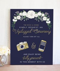 Our Navy and Gold Unplugged Wedding Sign is the perfect way to let guests know about your Unplugged Ceremony.