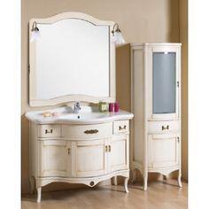 mobile bagno arte povera melissa 110cm colore bianco anticato colonna