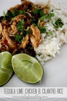 Tequila Lime chicken & Cilantro rice - sub quinoa Crockpot Recipes, Chicken Recipes, Cooking Recipes, Healthy Recipes, I Love Food, Good Food, Tequila Lime Chicken, Cilantro Rice, Turkey Dishes