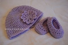 Free Crochet Pattern for Baby, Toddler and Child Hat and How to Crochet Matching Baby Booties (3 sizes Baby, Toddler, Child(easy)