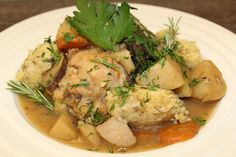 Chicken Stew with Bread Dumplings - A Perfect Pantry Bread Dumplings, Slow Cooker Recipes, Stew, Pantry, Carrots, Stuffed Mushrooms, Potatoes, Meals, Chicken