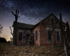 """""""The Brick House"""" --- Milky Way Stars shine bright over this forgotten brick house in southeastern South Dakota.  www.facebook.com/HomeGroenPhotography"""