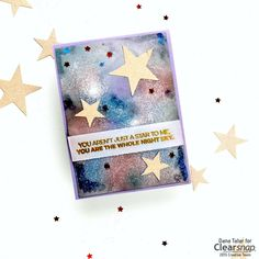 Dana Tatar shows how to create a galaxy card that is out-of-this-world using ColorBox Metallic Pigment Ink, Embossing Powder, and an iron.
