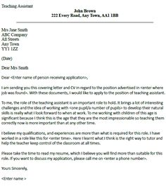 Cover Letter For A Teaching Assistant   Job Seekers Forums
