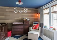 Nautical Nursery with Custom Wood Accent Wall