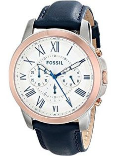 Fossil Men's FS4930 Grant Chronograph Stainless Steel Watch with Dark Blue Leather Band ❤ Fossil