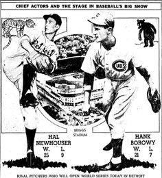 World Series on Today:Cubs vs. Tigers ※ 10/3/1945, Chicago Tribune #Baseball #Vintage #WorldSeries