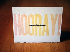 Letterpress Hooray Congratulations Card by CompassAndCloud, $4.00