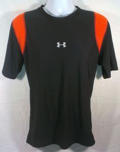 Under Armour Men's Size 2XL Compression Shirt Black Orange Heatgear Athletic XXL #UnderArmour