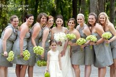 Green and gray wedding ideas. Lavender shoes/bows on bouquets for bridesmaids?