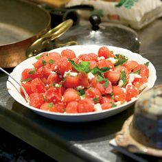 Watermelon Salad with Feta and Mint Salad with Feta I Although Jacques Pépin cuts a small, seedless watermelon into rounds with a melon baller (adding the trimmings to the salad, too, so as not to waste them), you can also chop the watermelon into cubes.