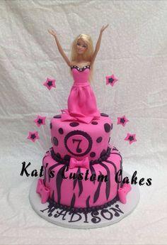 Barbie zebra stripe cake