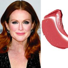 """JULIANNE MOORE When you have alabaster skin with some pink in it, this dusty rose lipstick can read as nude. """"You'll want to avoid anything that appears yellow or gold, which could make you look ill,"""" says pro Elaine Offers. Her pick: L'Oréal Paris Dusty Rose Lipstick, Brown Lipstick, Nude Lipstick, Lipstick Shades, Cool Skin Tone, Colors For Skin Tone, Lip Colors, Julianne Moore, Alabaster Skin"""