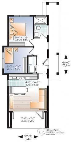 1st Level Modern 631 Sq.ft. Tiny House Plan, 2 To 3 Bedrooms