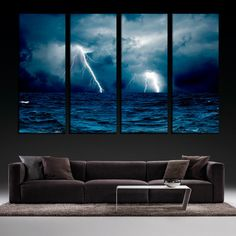 Lightning Ocean Storm Clouds 4 or 5 Panel  Art Canvas Print, Lightning Canvas Print, Ocean Bedroom Wall Art, Lightning Wall Art Prints by largeartcanvas. Explore more products on http://largeartcanvas.etsy.com