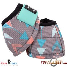 Classic equine arrow patterned bell boots.