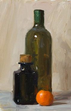 daily painting titled Bottles and clementine by Julian Merrow-Smith Oil Painting Lessons, Oil Painting For Beginners, Still Life Oil Painting, Painting Videos, Still Life Artists, Still Life Drawing, Bottle Painting, Still Life Photography, Vanitas